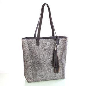 Dámská taška ze syntetické rafie s třásněmi Kbas stříbrná 341803PL