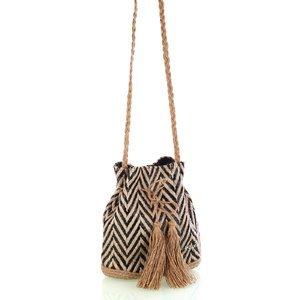 Dámska taška na rameno Kbas so slamenými popruhmi a strapcami čierna 341810N