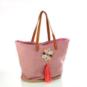 Dámska pletená taška z juty a bavlny so strapcom Kbas ružová 341811RS