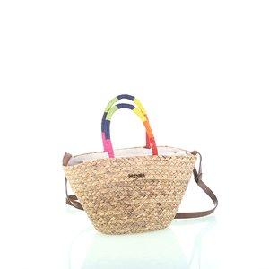 Kabelka cez rameno so zipsom z morskej trávy Kbas s farebnými rúčkami KB341930
