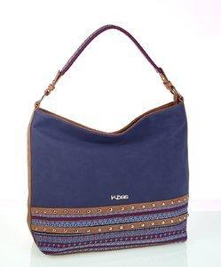 Dámska kabelka z eko kože a látky Kbas so vzorom modrá