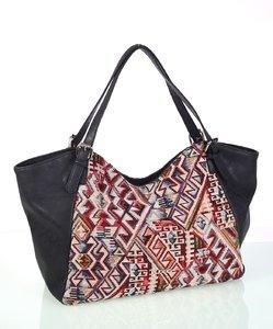 Elegantná dámska kabelka z eko kože a bavlny Kbas s aztéckym vzorom čierna