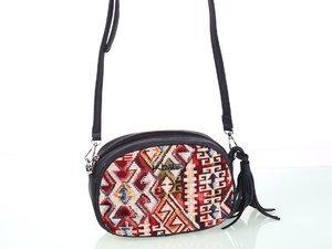 Geantă peste umăr pentru dame Kbas din piele ecologică și material textil cu model aztec neagră 346707N