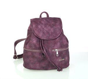Női hátizsák ekobőrből Kbas dupla cipzárral lila 346708L