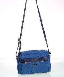 Dámska kabelka cez rameno z nylónu Kbas s predným zipsom modrá