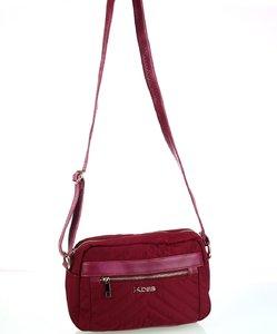 Dámska kabelka cez rameno z nylónu Kbas s predným zipsom granátová