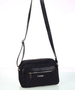 Dámska kabelka cez rameno z nylónu Kbas s predným zipsom čierna