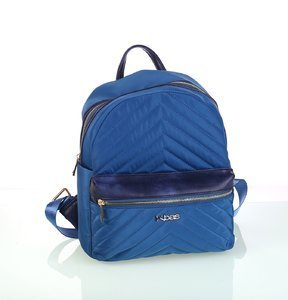 Dámsky batoh z nylónu s prešívaním a predným zipsom Kbas modrý