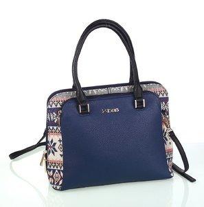 Elegantná dámska kabelka z eko kože a bavlny Kbas so zimným vzorom modrá