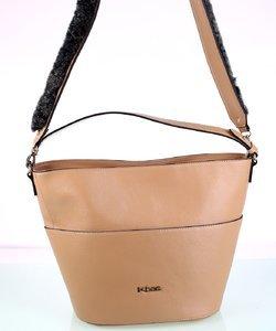 Dámska kabelka z eko kože Kbas s rúčkami a popruhom béžová