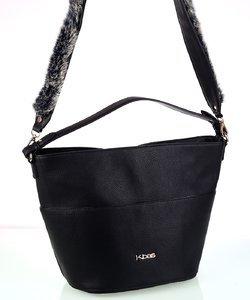 Dámska kabelka z eko kože Kbas s rúčkami a popruhom čierna