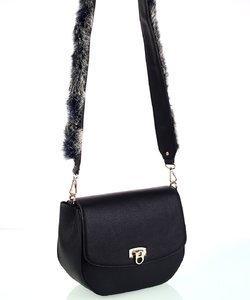 Dámska kabelka cez rameno z eko kože so zdobeným popruhom čierna