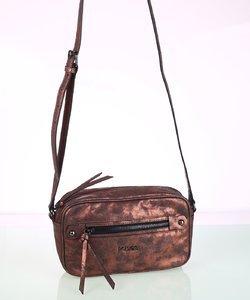 Dámska kabelka cez rameno eko koža Kbas s metalickým odleskom medená