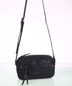 Dámska kabelka cez rameno eko koža Kbas s metalickým odleskom čierna