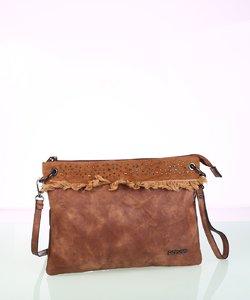Dámska kabelka cez rameno z eko kože Kbas hnedá