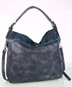 Dámska kabelka eko koža Kbas s ozdobným vybíjaním modrá