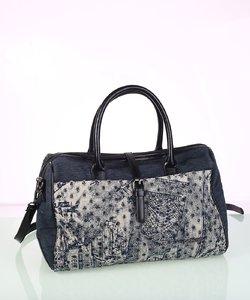 Dámska kabelka z plátna a eko kože Kbas modrá