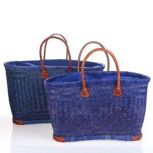 Set 2 košíků z esparta Kbas modré KB350804